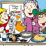 Comic-Zeichnung von Katja und Max, die mit ihrer an Alzheimer erkrankten Oma Pfannkuchen backen.