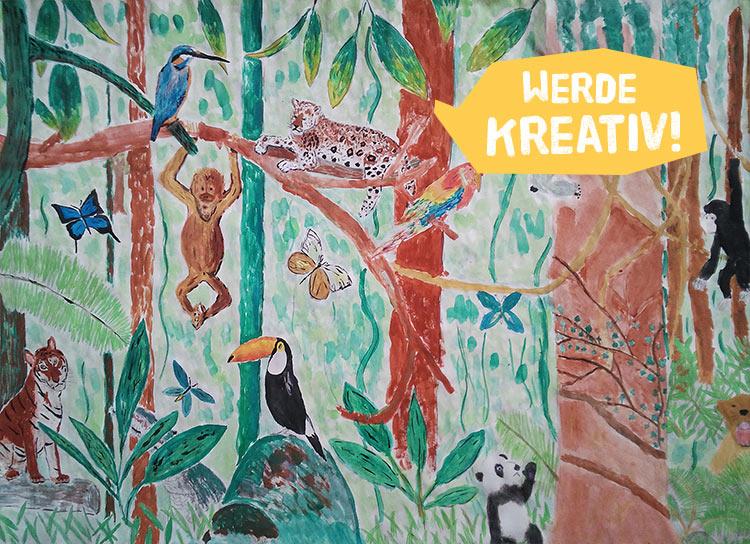 Ein gemaltes Bild vom Regenwald mit Jaguar, Affe und Co