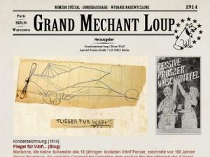"""Eine Zeitungsschlagzeile """"Grand Mechant Loup"""" mit Flugzeugskizze"""
