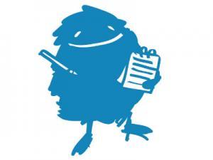 Das blaue Zeitungsmonster Duda mit Stift und Notizblock