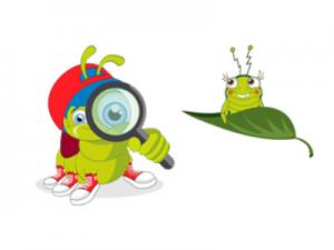 Raupe Finn von FragFinn mit Lupe vor dem Auge und einem Insektenkumpel