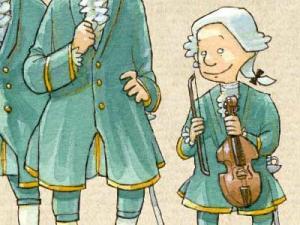 Ein Junge in Barock-Kleidung mit einer Geige in der Hand