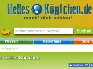 Ein Ausschnitt der Website Helles-Köpfchen.de mit Suchschlitz