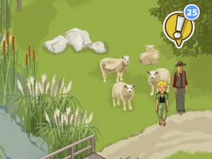 Schafe und zwei Figuren in einem Naturcomputerspiel
