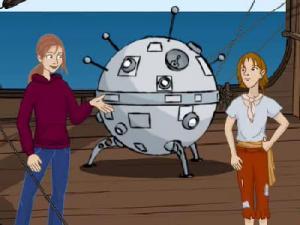 Ein Zeichentrickmädchen unterhält sich auf einem Holzschiff mit einem Jungen