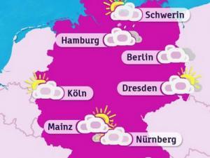 Eine rosafarbene Wetterkarte von Deutschland