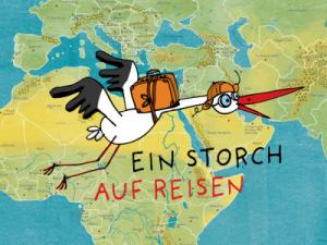 Ein Cartoon-Storch fliegt über eine Landkarte Afrikas