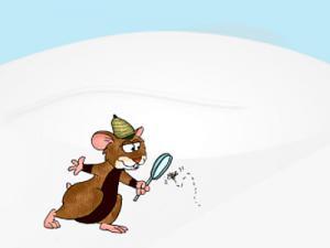 Ein Cartoon-Hamster mit Lupe im Schnee