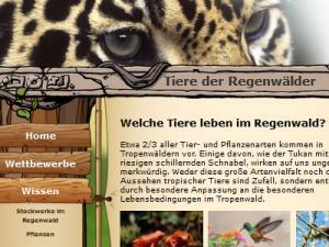 Ein Screenshot von regenwald-schuetzen.org mit Jaguaraugen