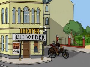Eine Zeichnung mit historischer Straße und Theater-Gebäude
