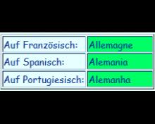 Deutschland  auf Französisch und Spanisch