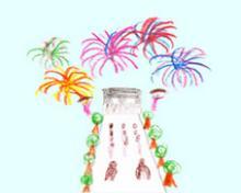 Feuerwerk über dem Triumphbogen in Paris