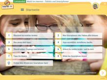 """Startseite des Lernmoduls """"Mobil im Internet – Tablets und Smartphones"""""""