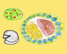 Mittagessen in Frankreich: Salat, Hauptgericht und Käse