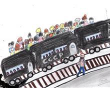 Jemand steigt zur falschen Seite aus dem Zug aus