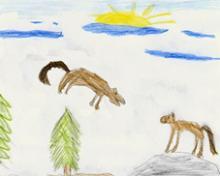 Springender Wolf